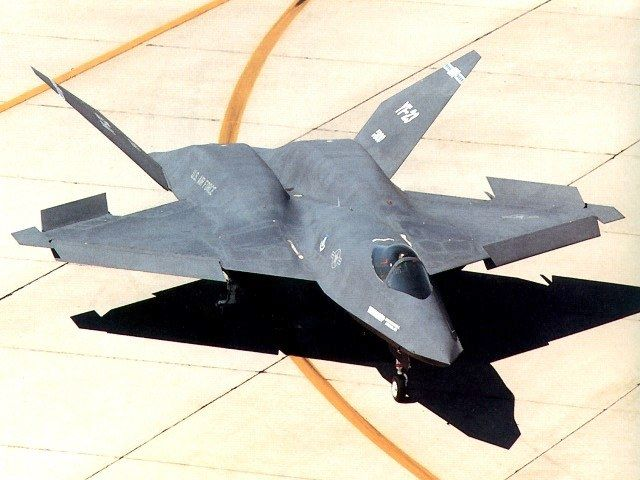 YF-23 Stealth Fighter.  Lost to the F-22 Raptor in tryouts but still cool nonetheless.