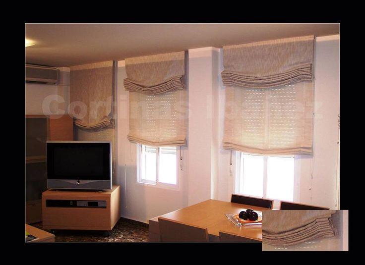 """3 estores """"Paqueto"""" noche y día, en visillos de lino. Los estores son una solución ideal para numerosos ambientes y dan claridad y modernidad. Elegantes y para cuartos de reducidas dimensiones son ideales. En cortinas Ibáñez disponemos de miles de tejidos que se pueden adaptar a sus necesidades. https://www.facebook.com/pages/Cortinajes-Ibañez/285146811496396"""