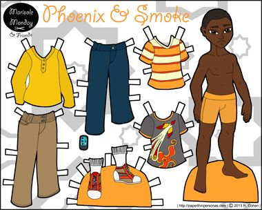 African-American guy printable paper doll from 2013. One of my few male paper dolls.