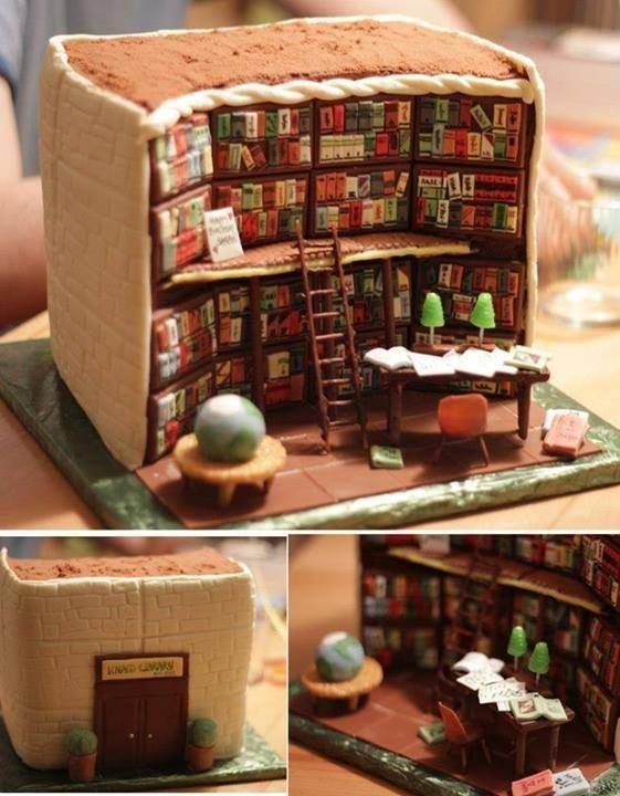 How amazing is this library cake!