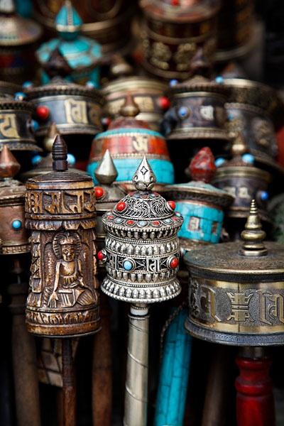 Tibetan prayer wheels for sale at the UNESCO World Heritage Site of Bodhnath Stupa