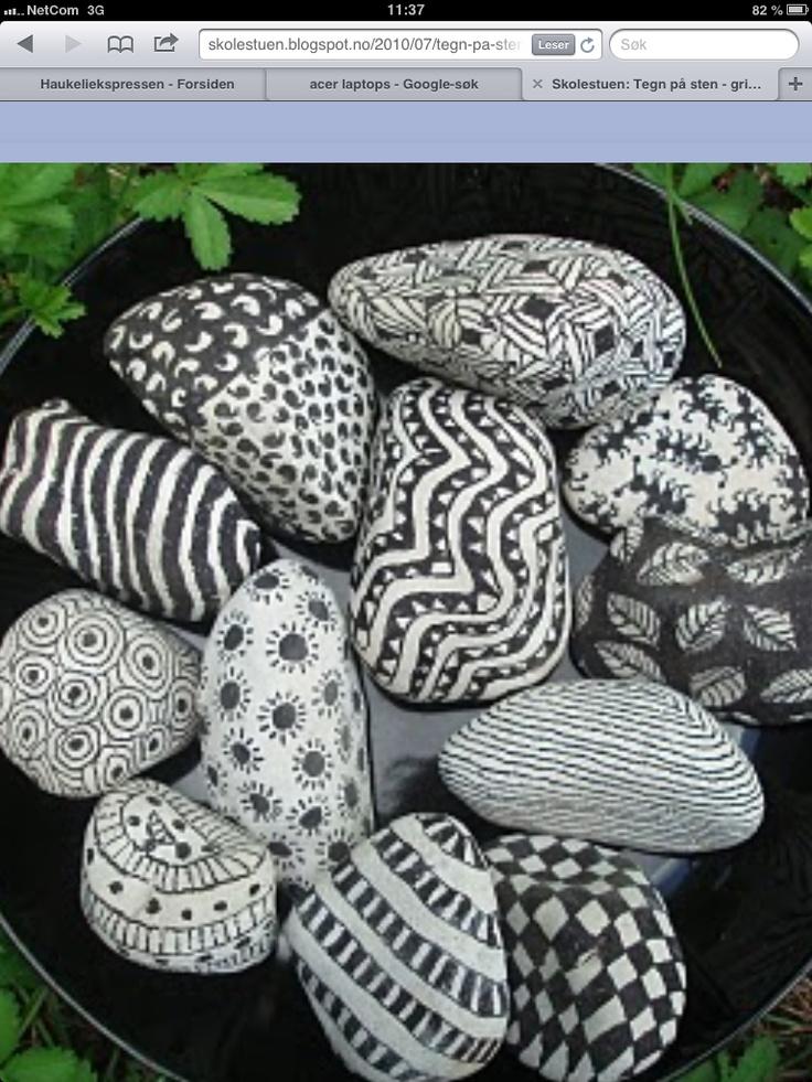 Tegne på sten med permanent tusj!