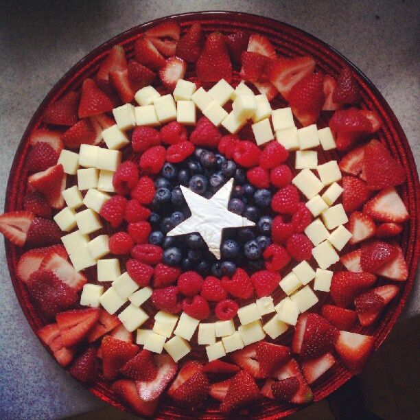 Captain America's shield as a fruit & cheese tray. Made it for my Avengers birthday party! (The star is a brie wheel I cut with a cookie cutter!)