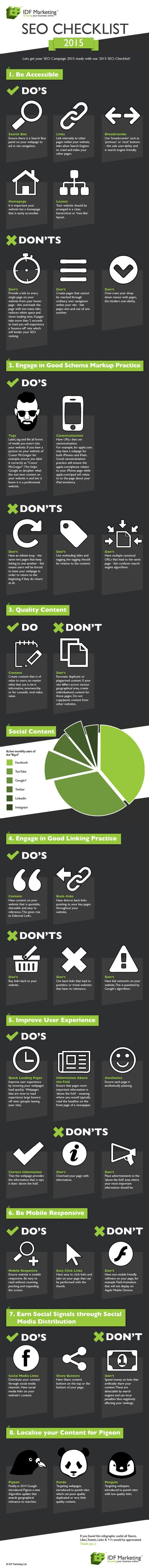 Search Engine Optimization Checklist 2015. This infographic will prove most useful therefore for the coming year and the good practice contained within it are best practice for the SEO industry as it stands today.