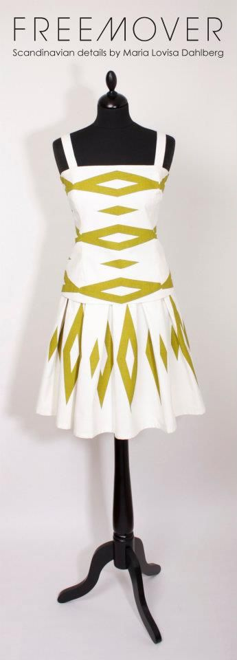 Tailored by FREEMOVER Dress Roma,  pattern Prisma™, White/Green, designer Maria Lovisa Dahlberg