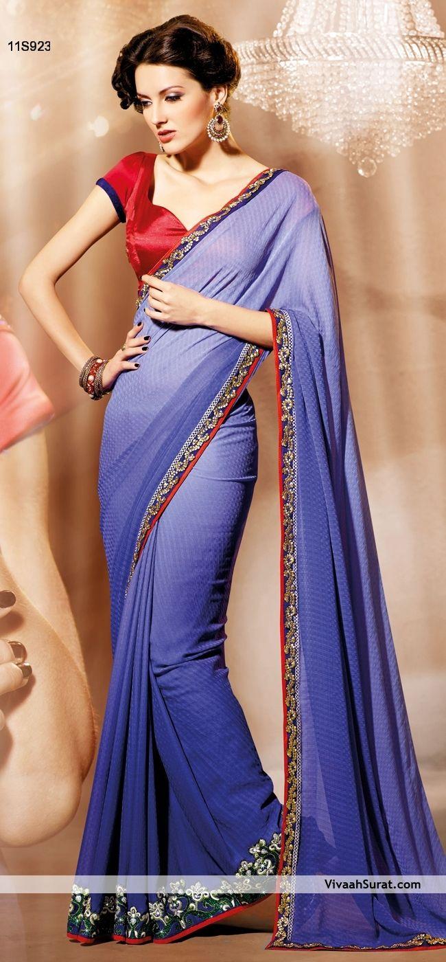 Graceful Blue Chiffon Party Wear Saree