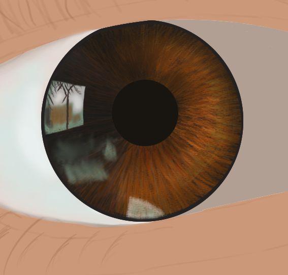 Début de dessin d'un œil en digital painting