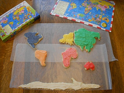 World Map cookies - use a map to trace the continents onto parchment paper, then use that to cut out the cookie shapes!