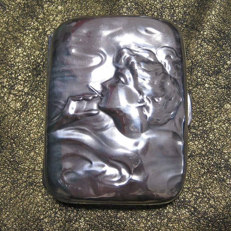 Unger Brothers Sterling Silver Smoking Lady Cigarette Case from kirstenscorner on Ruby Lane