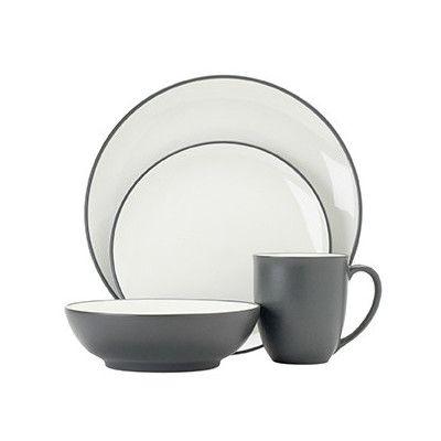 Colorwave Graphite 16 Piece Coupe Dinner Set | Temple & Webster