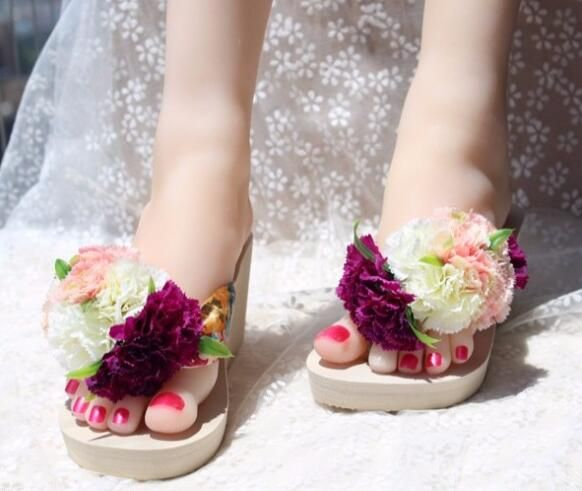 Seaside on summer flowers flip-flops sand wedge female slippers wedge hand pinches cool slippers