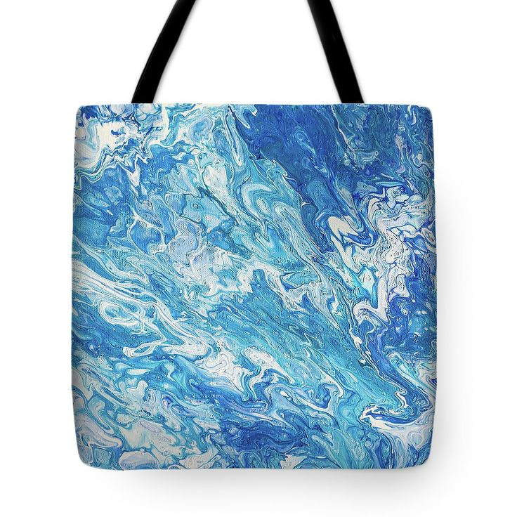 Azure Transfusions Of Ocean Waves. Abstract Fluid Acrylic Painting Tote Bag by Jenny Rainbow.  The tote bag is machine washable, available in three different sizes, and includes a black strap for easy carrying on your shoulder.  All totes are available for worldwide shipping and include a money-back guarantee.