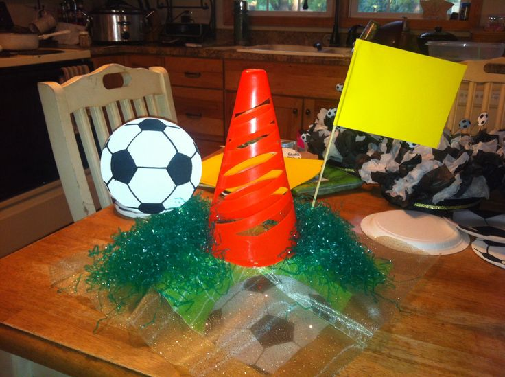 Soccer centerpiece banquet decorations
