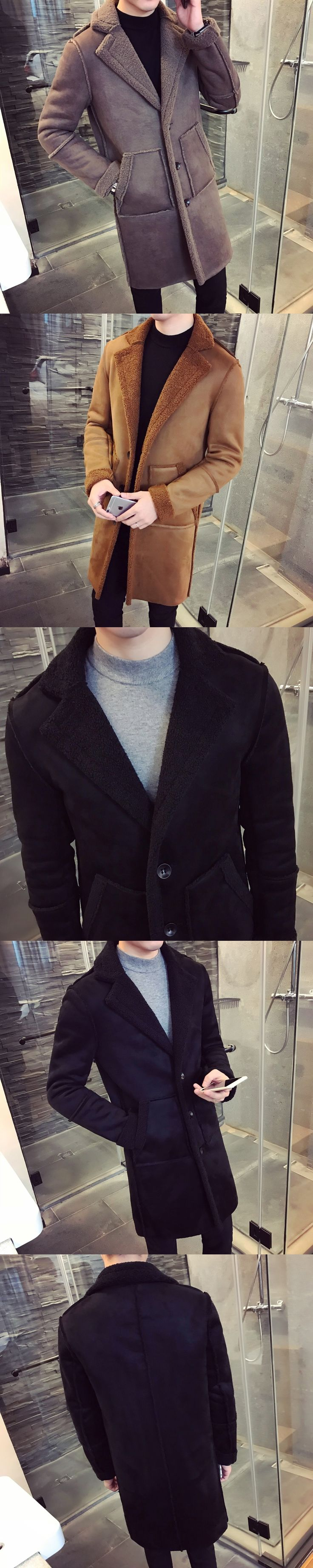 2017 Winter Male Suede Fabric Long Windbreaker Solid Color Woolen Blend Loose Trench Jacket Cashmere Large Size Overcoat M-3XL