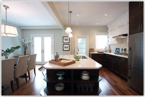 Open Plan Kitchen Diner Dark Lower Cabinets Light Upper