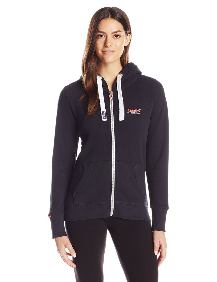 Superdry Women's Orange Label Primary Zip Hoodie, Eclipse Navy, Large. Plush fleece zip up hoodie with drawstring hood. Two front pockets. Embroidered Superdry logo on chest. 55% Cotton/45% Polyester.