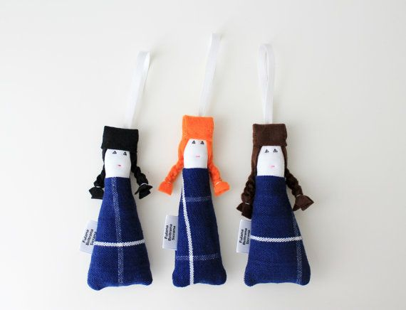 Navy blue lavender sachet SET OF 3 ooak mini dolls by FulBelSic