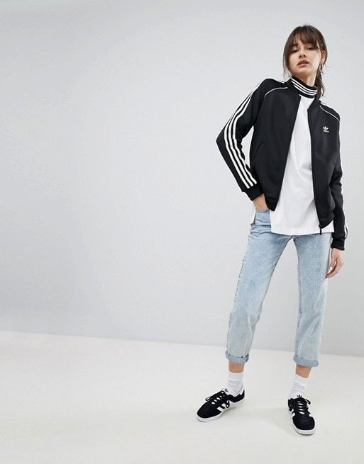 7560d165 adidas Originals adicolor Three Stripe Track Jacket In Black ...