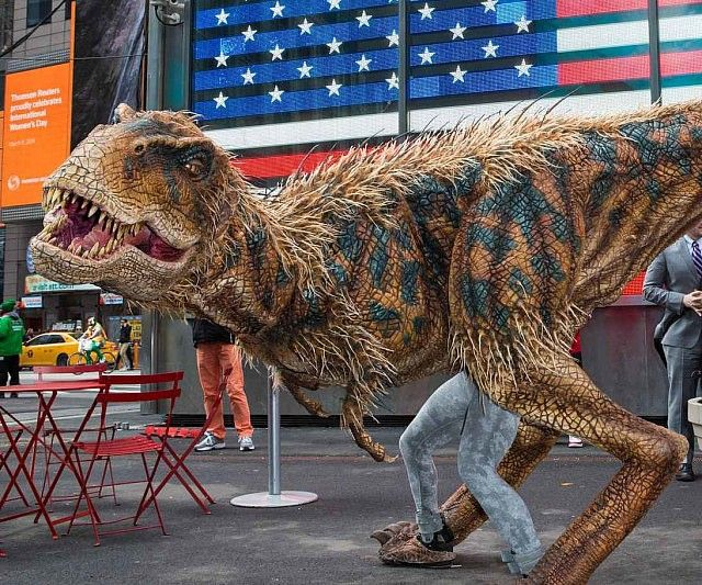 Morph yourself into a prehistoric beast by slipping inside the walking dinosaur costume. Sparing no expense, this incredibly detailed and realistic costume depicts the mighty Tyrannosaurus Rex in a scaled down yet remarkably life like outfit.