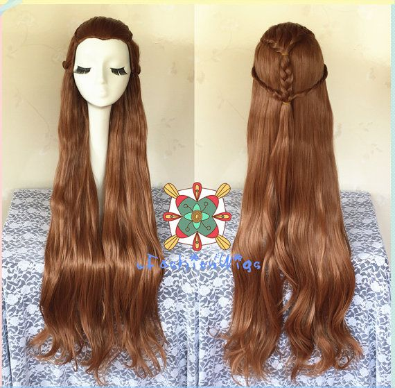 The Hobbit The Desolation of Smaug Tauriel Cosplay Wig, Long Brown Silvan Elf Cosplay Wavy Style Wig with Braid UF113