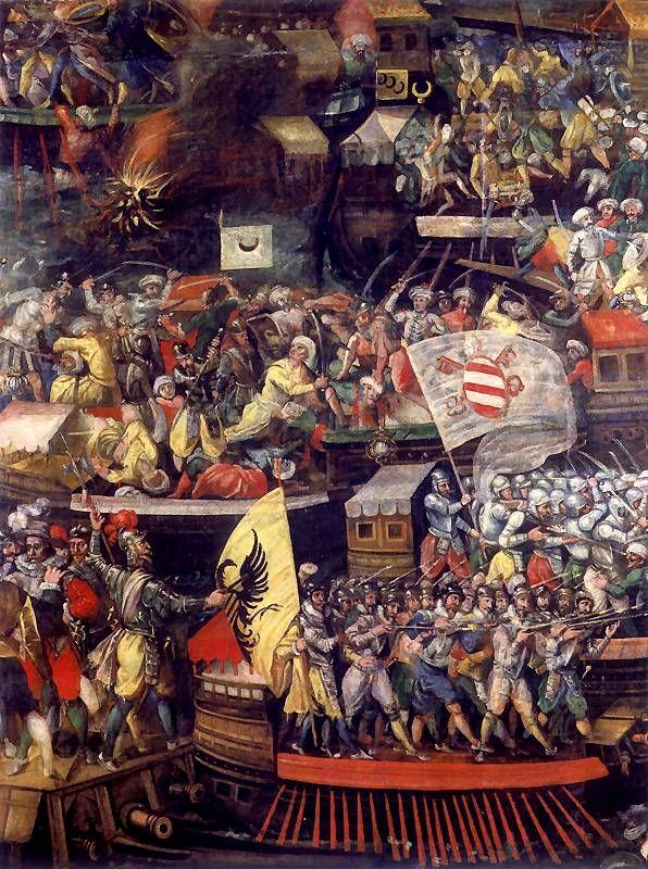 64. Tomaso Dolabella, Bitwa pod Lepanto, 1632. Sfumato - przyćmiona, stonowana kolorystyka. Tłumy postaci.
