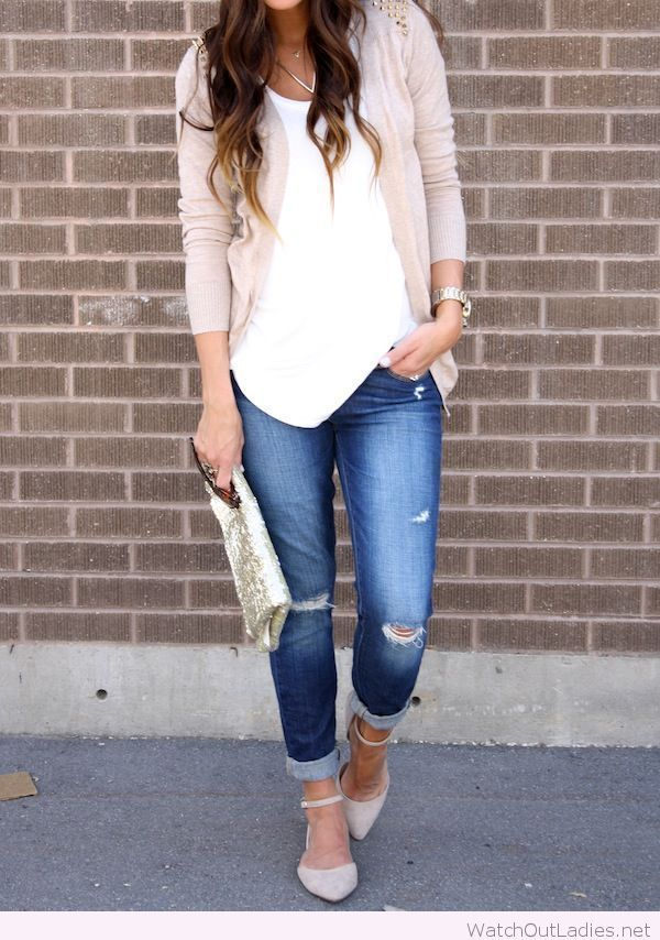 Jeans, white tank and nude cardigan