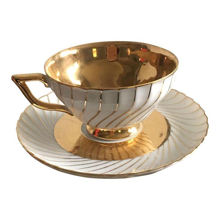 Bavaria Waldershof Gold and White Tea Cup Teacup