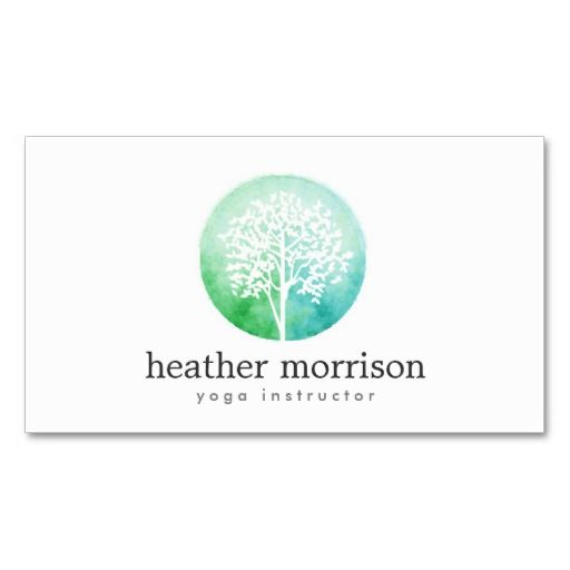 Watercolor Tree Yoga and Wellness Business Card Template - click to personalize