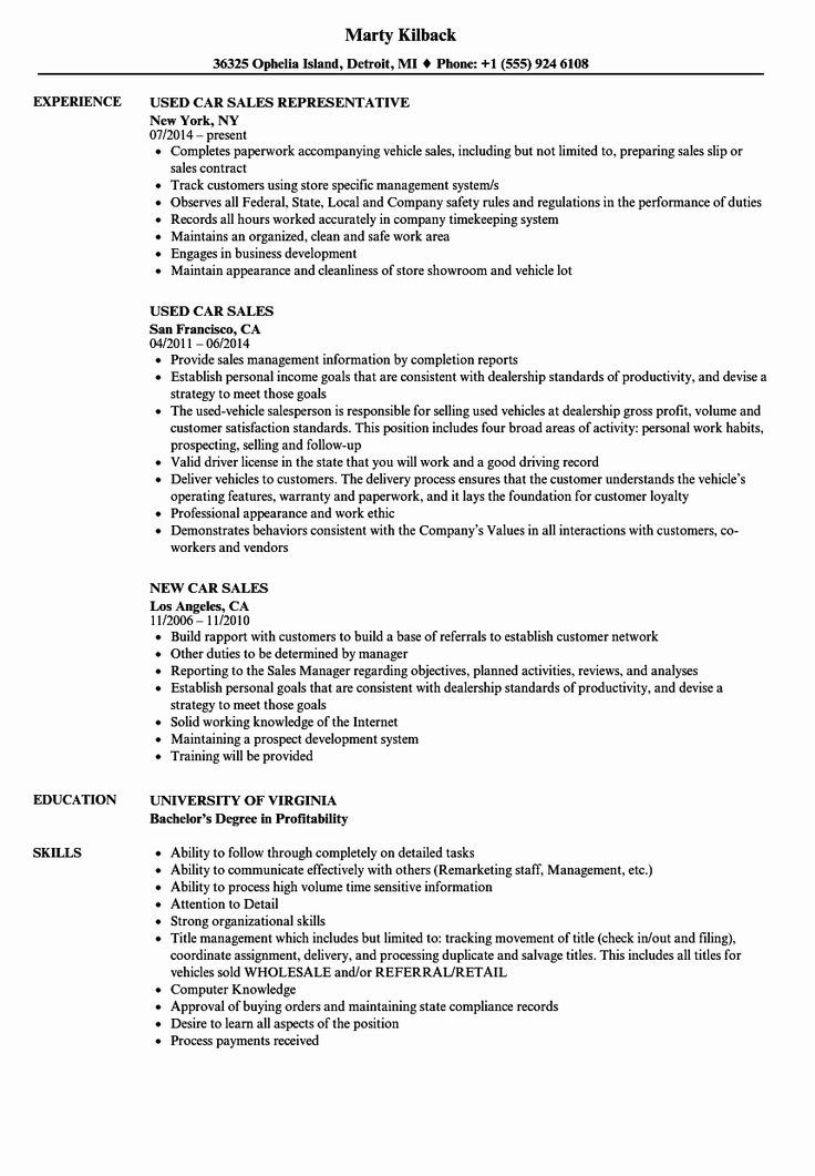 25 Car Sales Manager Resume in 2020 Sales resume, Resume