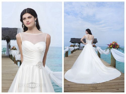 Circular Satin Sabrina Illusion Satin Trim Neckline And Drop Waistline Ball Gown