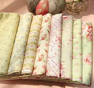 Romantic Green Quilt Fabric Fat Quarter Bundle 8 FQ 100% Cotton Sewing Fabric