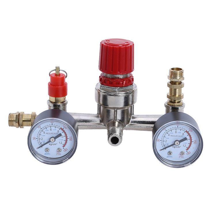 Air Compressor Valve 90-120PSI Air Compressor Regulator Pressure Switch Control Valve with Gauges #Affiliate