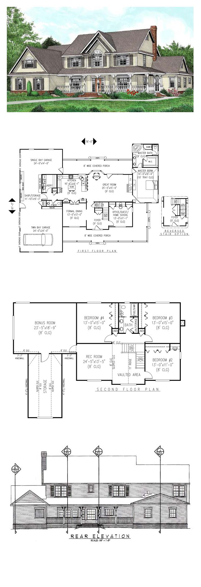 House plan - master on main, large garage with work area, project room upstairs, office on first floor