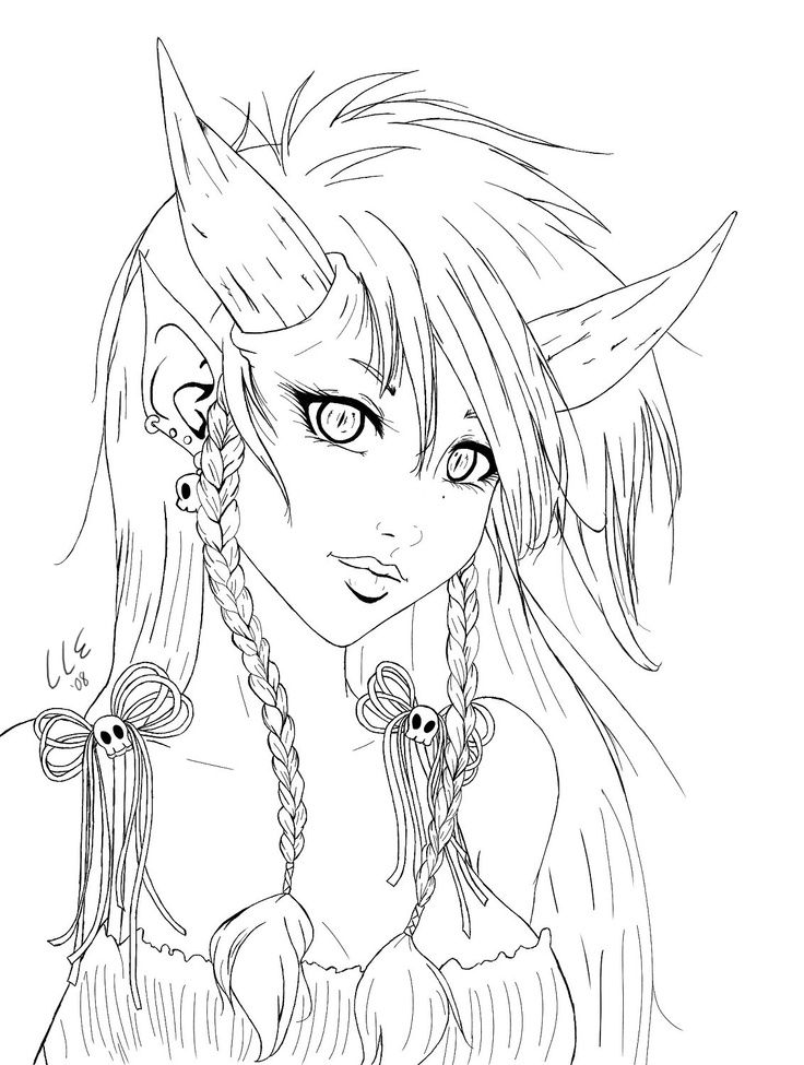 demon coloring pages for adults image detail for demon girl bust lineart by