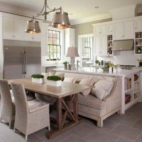 kitchen islands with attached table - Google Search