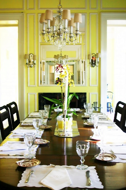 Fabulous yellow dining room belonging to Caroline Inge's father.