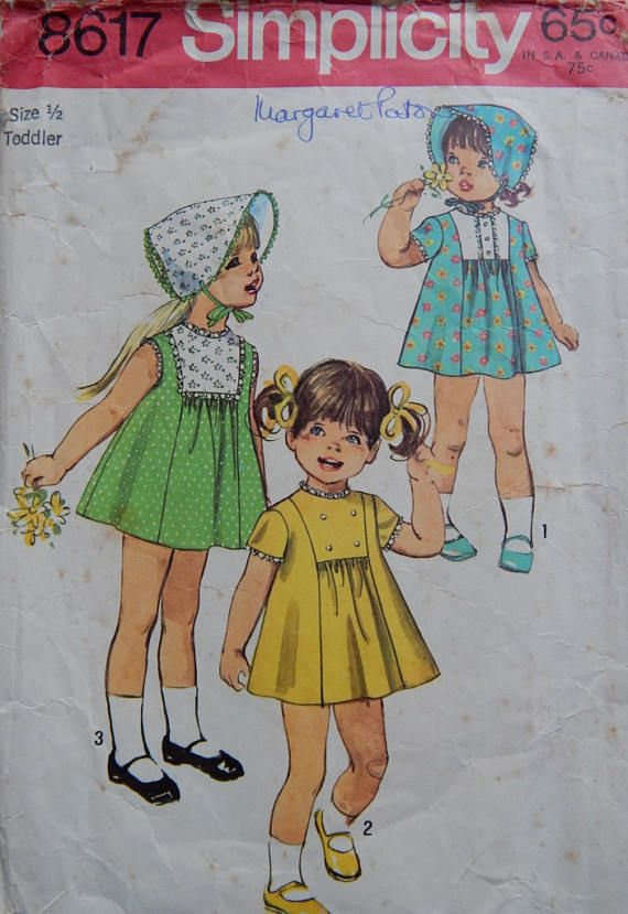 1970s vintage sewing pattern Simplicity 8617 Toddlers'
