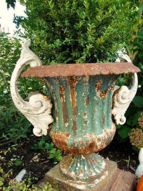 Exceptional Green Garden Urn.