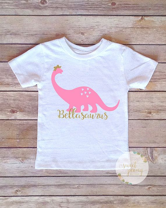 Toddler Girl Pink Dinosaur T-shirt  Kid's by SweetPeonyBoutique