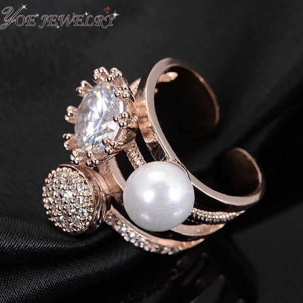 Iyoe последние дизайн AAA циркон кольца с пресноводной жемчужиной платиновым покрытием роскошные ну вечеринку женщин открытия кольцо валентина подарок,