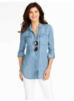 Patch-Pocket Denim Shirt - Marina Wash