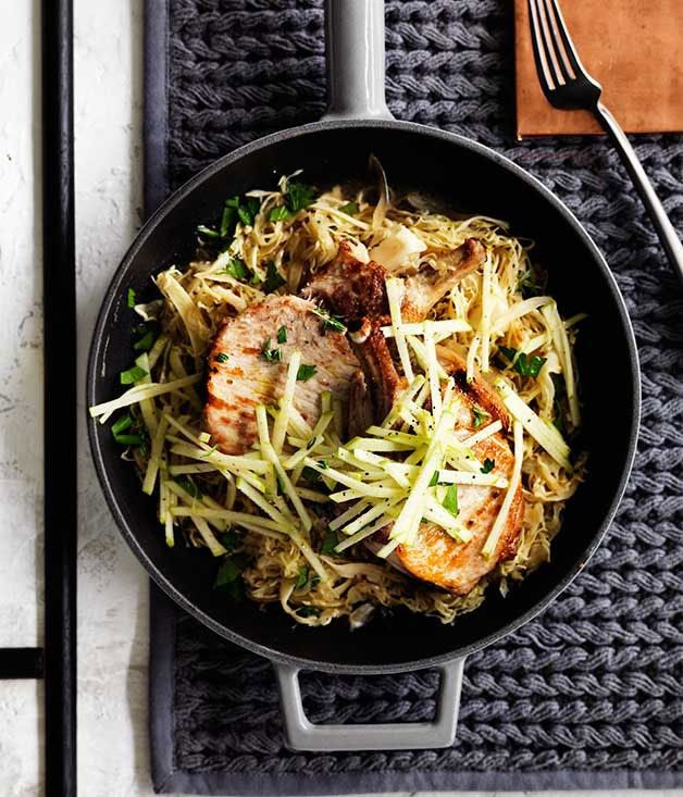 Pork with cabbage, apple and mustard :: Gourmet Traveller