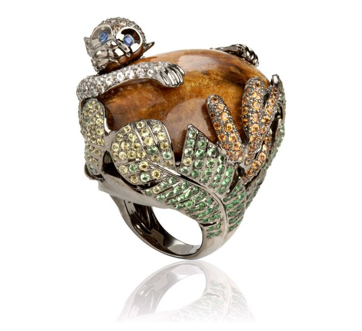 Fantasie Mischievous Monkey by Wendy Yue for Annoushka. Created in 18ct rose gold, brown diamond, green garnet and coral.
