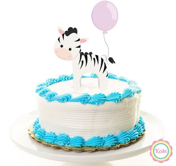 Baby shower cake topper zebra animal safari by ConfettiKake