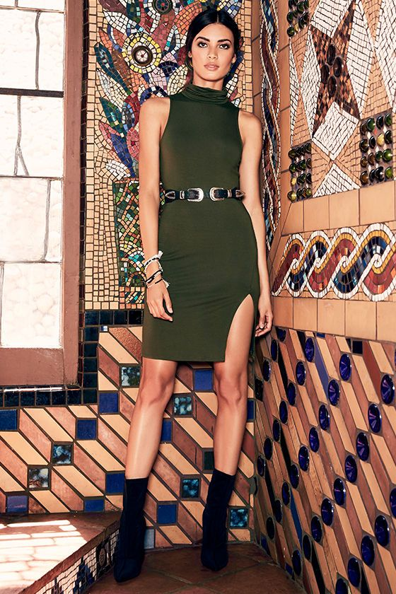 We like it, we love it, and we want more of it! The Love It Olive Green Bodycon Dress is endlessly chic with a turtleneck, sleeveless bodice, and figure flaunting fit all composed of soft, stretch knit. Side slit at hem.