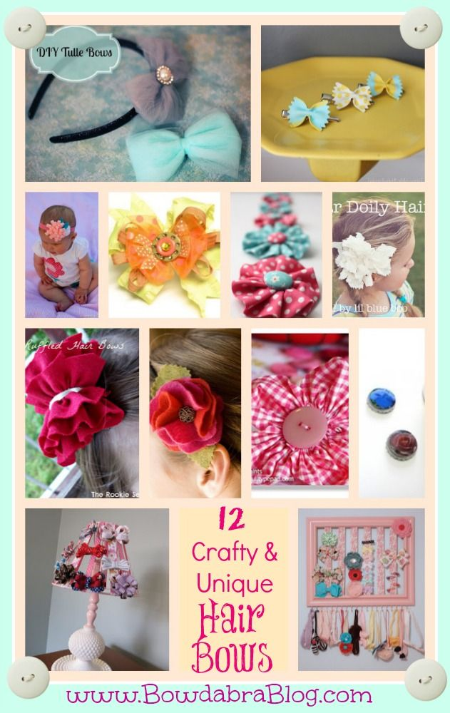 12 Crafty and Unique Hair Bow Projects#hairbows, #craftideas