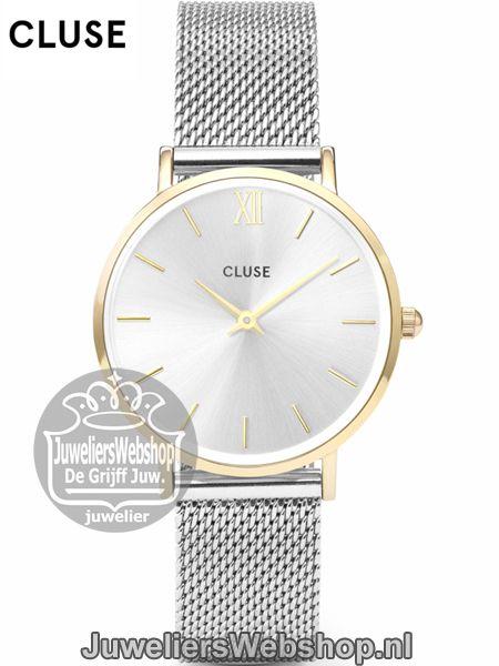 Cluse Horloge Minuit CL30024 Mesh Gold - Silver