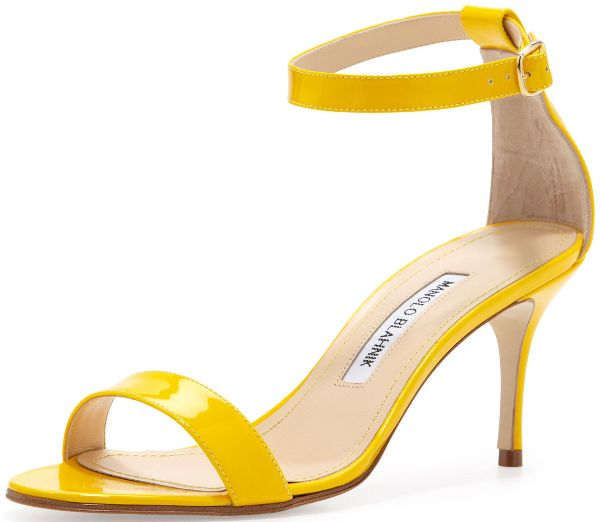 "Yellow Strappy Heels | Manolo Blahnik ""Chaos"" Sandal in Yellow , $725"
