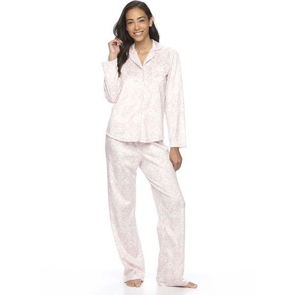 Women's Croft & Barrow® Pajamas: Minky Fleece PJ Set ($20) ❤ liked on Polyvore featuring intimates, sleepwear, pajamas, brt pink, petite, pink pajamas, button front pajamas, long sleeve pyjamas, petite pajamas and fleece pjs