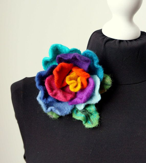 Felted brooch rose flower hand felted. by Feltmondo on Etsy, €15.00